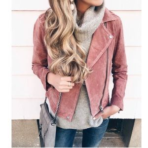 BLANK NYC SUEDE MOTO JACKET IN BLUSH S
